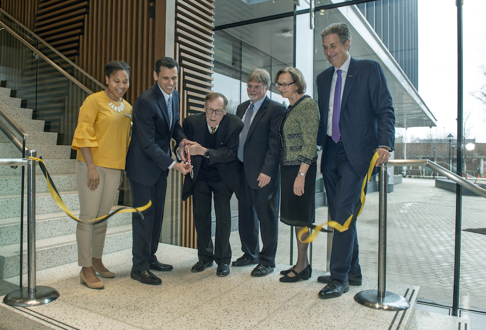 University leaders cut the ribbon on the College of Health Professions' new building. (Photo by K...