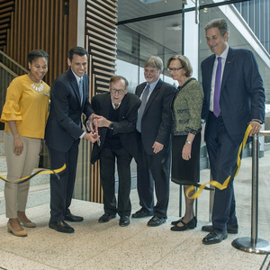 University leaders cut the ribbon on the College of Health Professions' new building. (Photo by Kevin Morley, University Marketing)