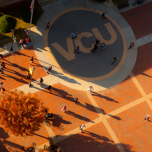 VCU circle outside student commons.