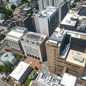 Bird's eye view of the downtown campus of VCU Medical Center
