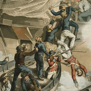 A painting depicting the recapture of HMS Hermione.
