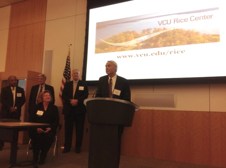Len Smock, director of the VCU Rice Center, accepts the Creative Scenic Enhancement Award at Scen...