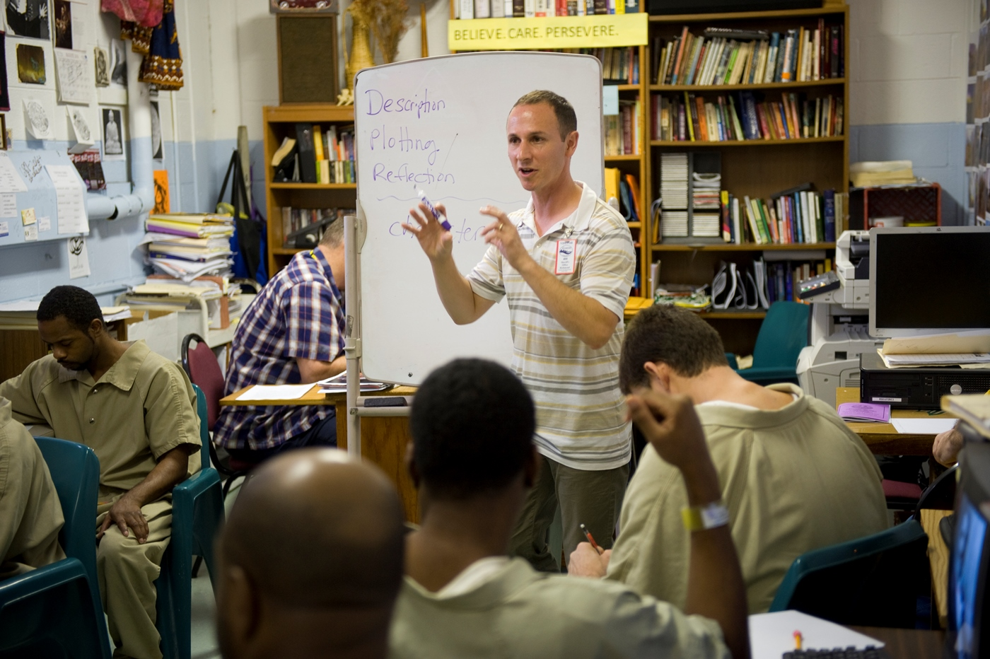 David Coogan teaches during an Open Minds session at the Richmond City Jail.