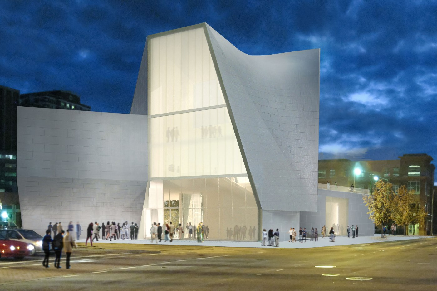Rendering of the exterior of VCU's Institute for Contemporary Art in Richmond, VA. Designed by Steven Holl Architects, the ICA is scheduled to open in 2016. Image courtesy of Steven Holl Architects.