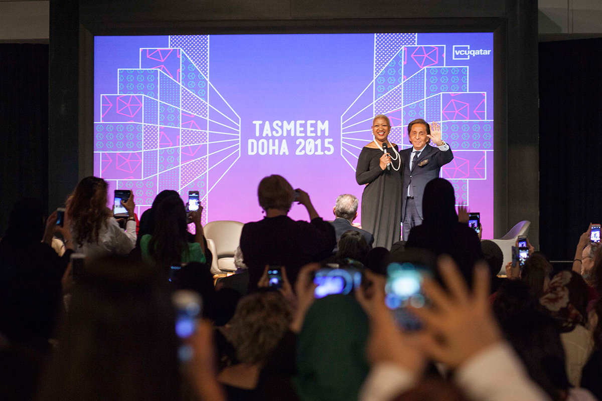 Legendary fashion designer Valentino with Sandra Wilkins, chair of the fashion department at VCUQatar, on the opening night of Tasmeem Doha 2015.
