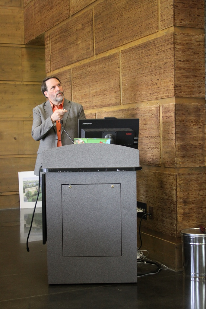 Bryan D. Watts, Ph.D., director of the Center for Conservation Biology, presents his latest research on whimbrels at the Seventh Annual Rice Rivers Center Research Symposium.